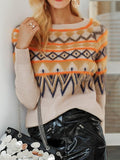 ByChicStyle Camel Geometric Tribal Print Round Neck Long Sleeve Pullover Sweater