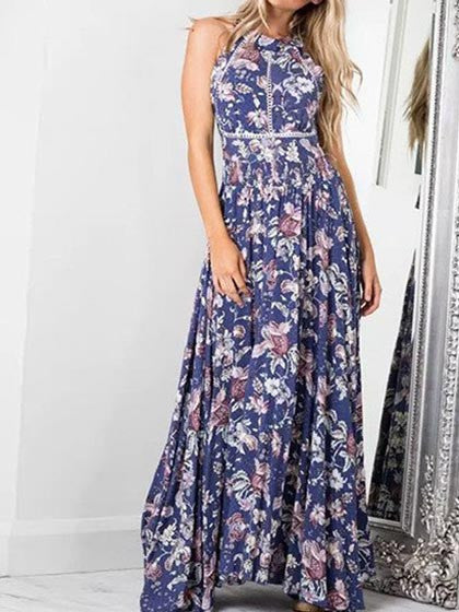 Casual Boho Multi Color Strappy Bohemian Style Floral Print Dress