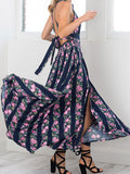ByChicStyle Casual Vintage Gorgeous Floral Print Open Back Dress
