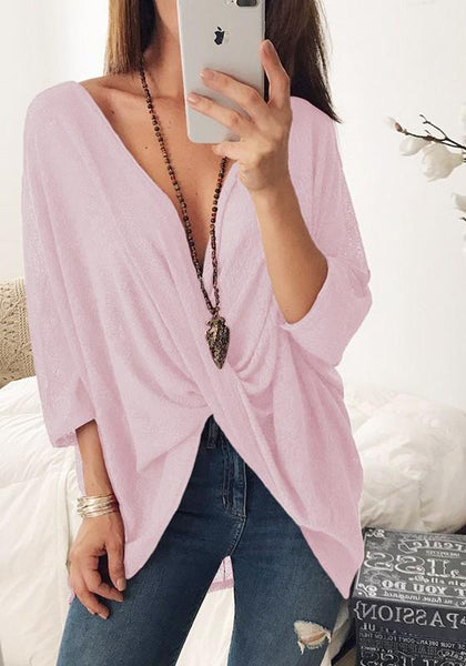 Pink Plain Draped V-neck Elbow Sleeve Fashion T-Shirt