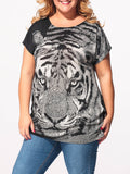 ByChicStyle Round Neck Tiger Printed Plus-size-t-shirts - Bychicstyle.com