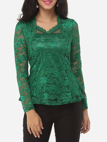 Casual Asymmetric Neckline Dacron Lace Plain Long Sleeve T-shirt