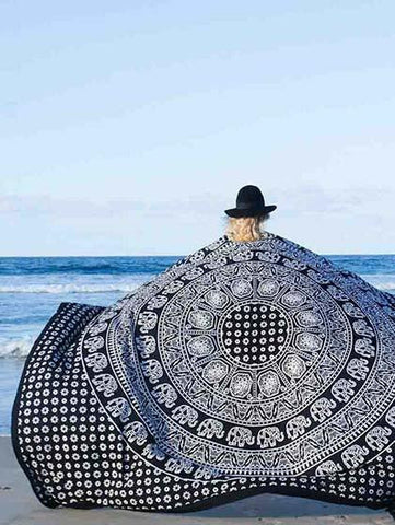 Casual Beach Boho Monochrome Beach Blanket