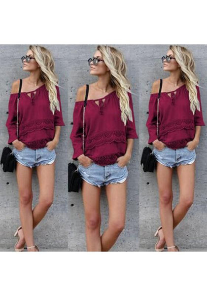 Red Plain Lace Boat Neck Fashion Blouse