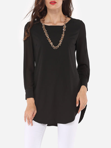 Hollow Out Plain Modern Round Neck Blouse - Bychicstyle.com