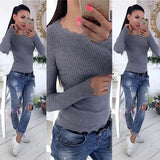ByChicStyle Grey Wavy Edge Draped Round Neck Casual Pullover Sweater