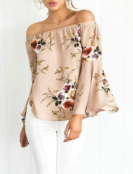 Casual Cute Suit Bateau Floral Print Top