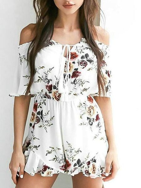 Casual Boho Floral Print Bateau Backless Off Shoulder Romper