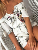 ByChicStyle Casual Boho Floral Print Bateau Backless Off Shoulder Romper