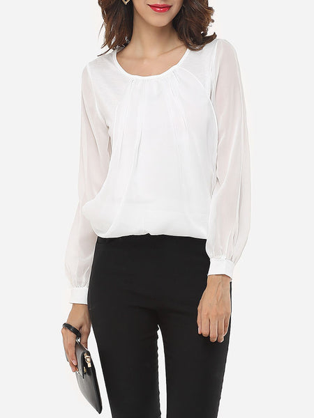 Casual Round Neck Dacron Plain Blouse