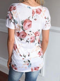 ByChicStyle Casual Fashion Teenage Round Neckline Little Floral Print Top
