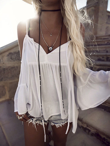 Casual Sexy Off Shoulder Halter White Solid Top