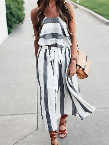 Casual Boho Summer Style Fashion Striped Top & Skirt Set