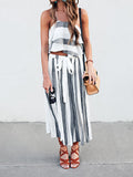 ByChicStyle Casual Boho Summer Style Fashion Striped Top & Skirt Set