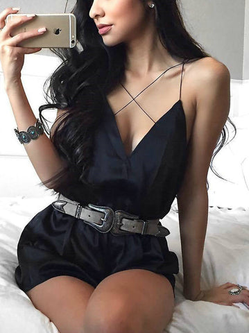 Casual Deep V neck Cross Solid Color Romper