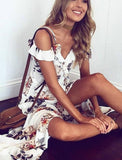 ByChicStyle Casual Beach Secrets Floral Print Haltel Off Shoulder Dress