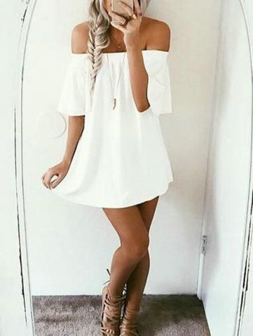 Casual Cute White Solid Off The Shoulder Dress