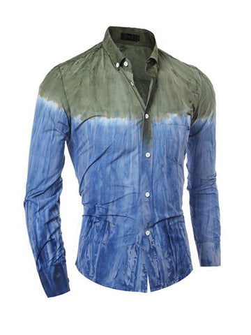 Trendy Fitted Color Block Tie/Dye Men Shirt - Bychicstyle.com
