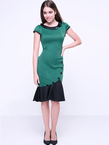 Casual Elegant Doll Collar Mermaid Decorative Button Bodycon Dress