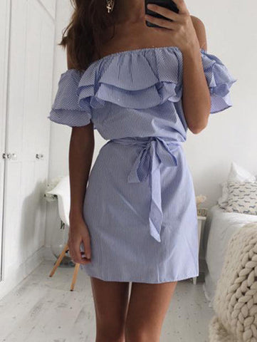 Streetstyle  Casual Fashion Flounce Bateau Off The Shoulder Striped Dress