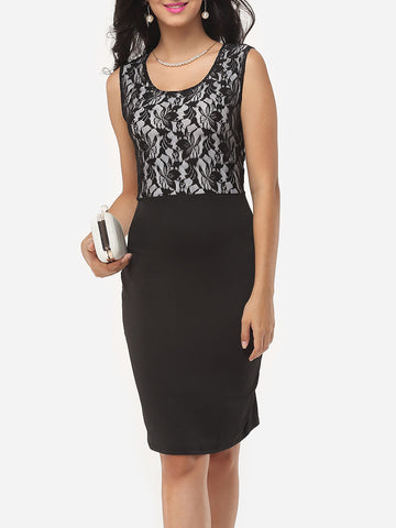 Lace Patchwork Elegant Bodycon Dress - Bychicstyle.com