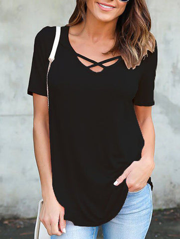 Casual Cute Daily Criss Cross Solid Color Top