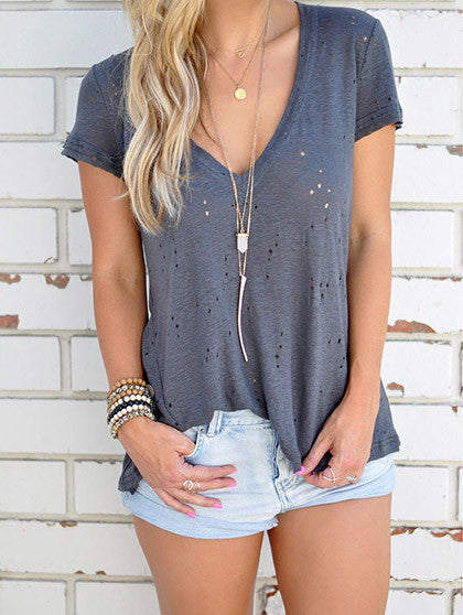 Casual V neck Solid Color Short Sleeve Top