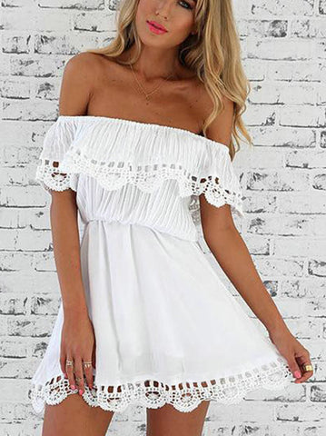 Streetstyle  Casual Sexy Off The Shoulder Solid Color Romper