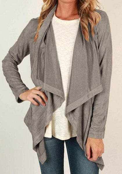 Grey Draped Collar Long Sleeve Cardigan Outerwear