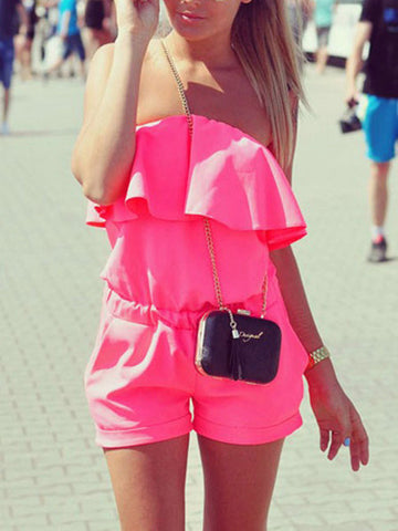 Streetstyle  Casual Sexy Off The Shoulder Solid Color Flounce Romper