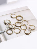 ByChicStyle 11pcs Vintage Rose&Leaf Carved Hollow Rings Accessories
