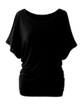 ByChicStyle Open Shoulder Concise Plain Batwing Short Sleeve T-Shirt - Bychicstyle.com