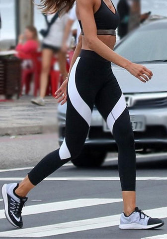 New Black-White Patchwork Elastic Waist Sports Yoga High Waisted Long Leggings