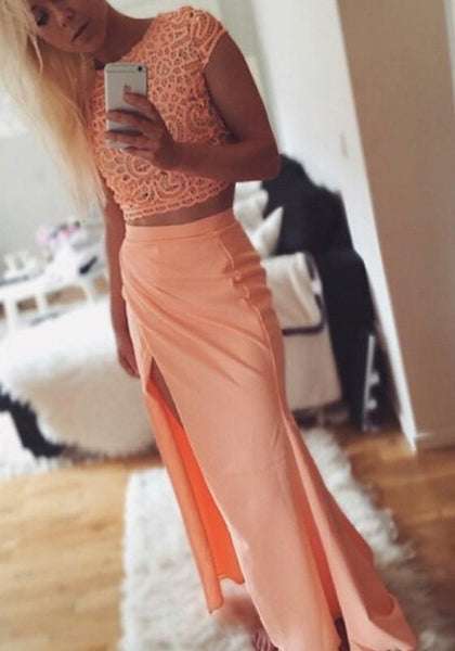 Pink Floral Lace 2-in-1 Slit Short Sleeve Midi Dress