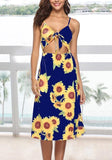 ByChicStyle Navy Blue Sunflower Print Cut Out Spaghetti Strap Backless Beachwear Bohemian Midi Dress