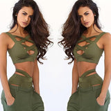 ByChicStyle Green Cut Out Crop off-shoulder Sleeveless Vest