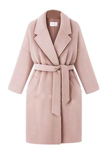 Pink Pockets Sashes Tailored Collar Long Sleeve Wool Coat