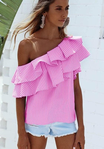Pink Striped Asymmetric Shoulder Cascading Ruffle Short Sleeve Blouse