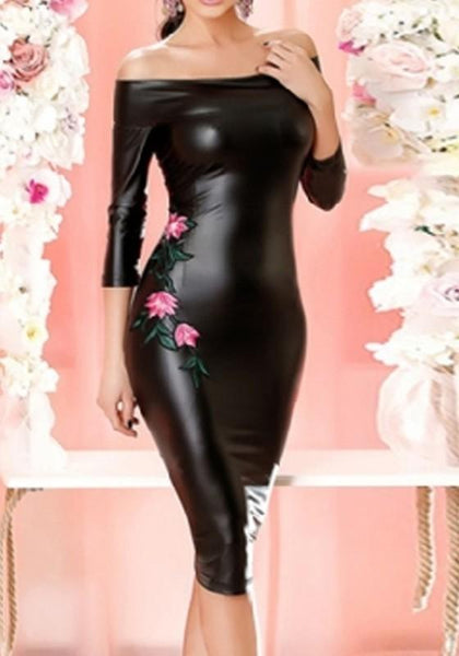 Black Embroidery PU Leather Bodycon Off Shoulder Backless Party Midi Dress