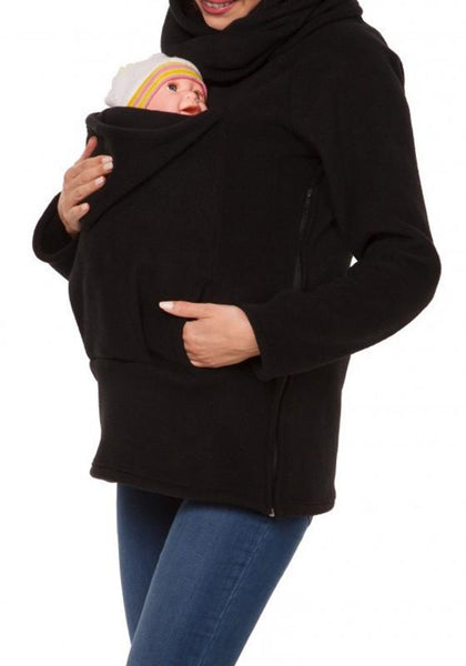Black Multi-functional Zipper Kangaroo Baby Bags Hooded Cardigan Fashion Sweatshirt