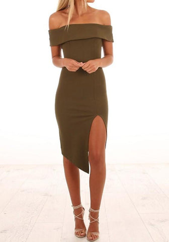 Army Green Plain Cut Out Irregular Boat Neck Midi Dress
