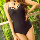 ByChicStyle Black Hollow-out V-neck Halter Neck Sleeveless One Piece Bikini Swimwear