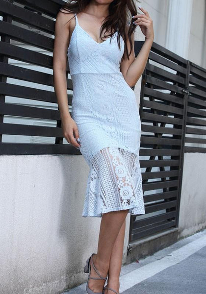 Sky Blue Patchwork Spaghetti Strap Lace Mermaid V-neck Sweet Party Midi Dress