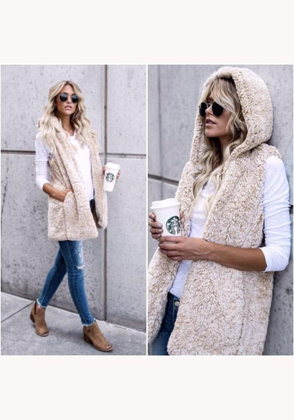 Beige Plain Pockets Hooded Fashion Cardigan Cashmere Vest