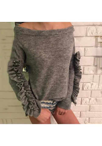 Grey Pearl Ruffle Boat Neck Casual Long Sleeve Pullover Sweater