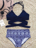ByChicStyle Casual Fashion Cross High Waisted Floral Print Bikini Set