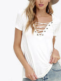 ByChicStyle Casual V neck Criss Cross Solid Color Top