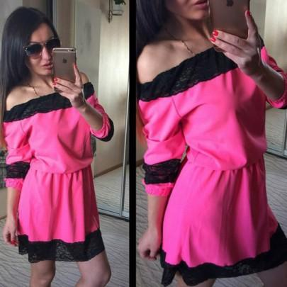 Casual New Women Pink Patchwork Lace Boat Neck Fashion Polyester Mini Dress