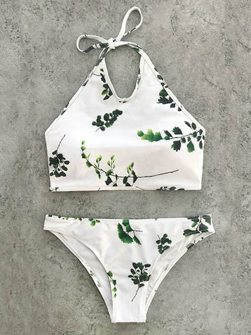Casual Summer Vibes Cute Branches Print Bikini Set