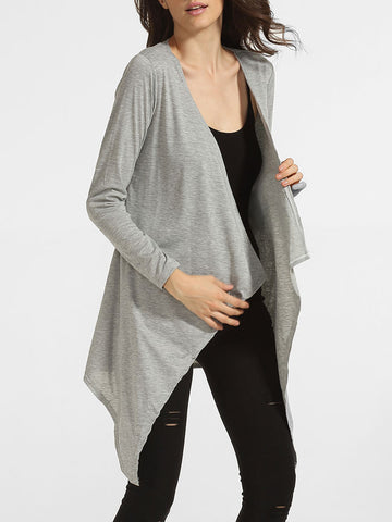 Casual Asymmetrical Hems Collarless Cotton Plain Cardigan